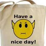 Vulcan Smilie Canvas bag for trekkies designed by Omniverz.com